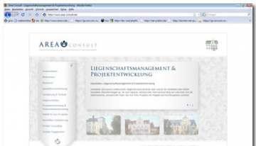 Internetportal für die premium Immobilienfirma Area-Consult, mit beweglicher Navigation